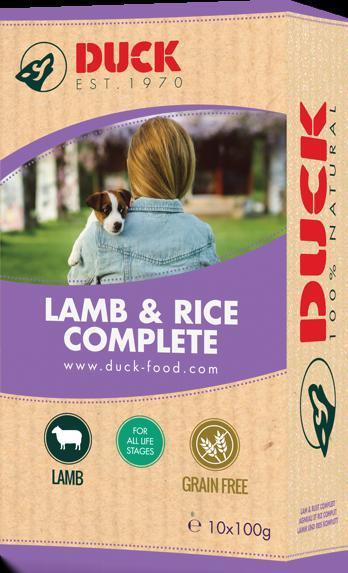 Duck Compleet Lam/rijst 1kg -paars-