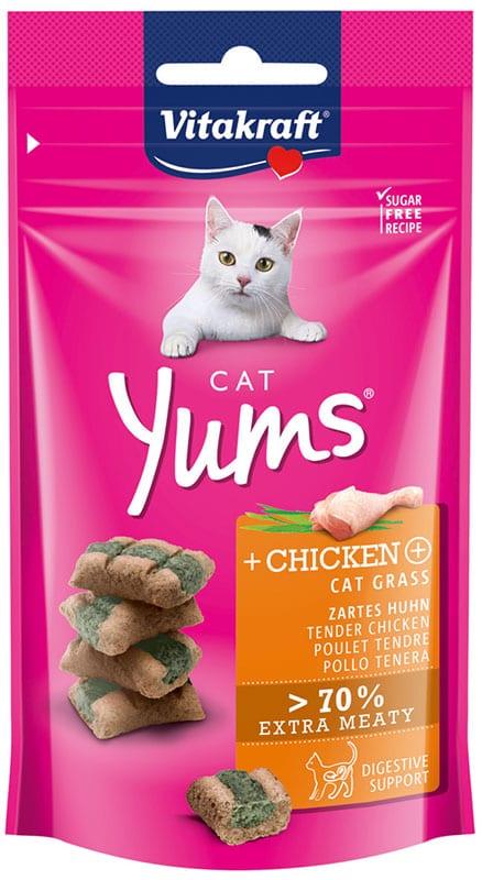 Vitakraft Cat Yums Kip & Kattengras 40gr