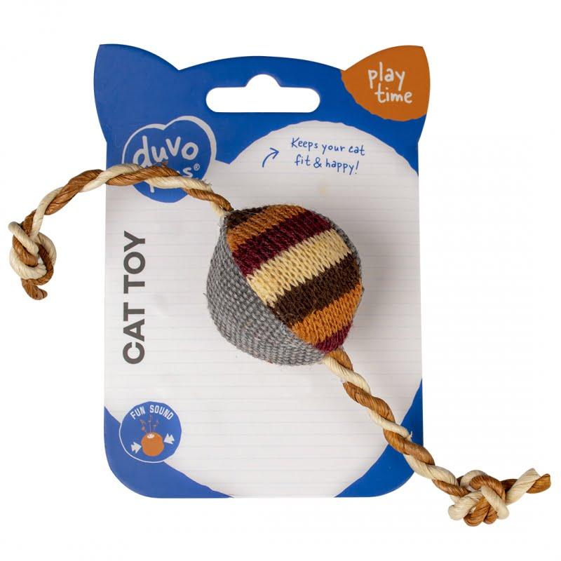 Duvo Kat Knitted Bal Met Koorden 23x4x3,5cm -Bruin-