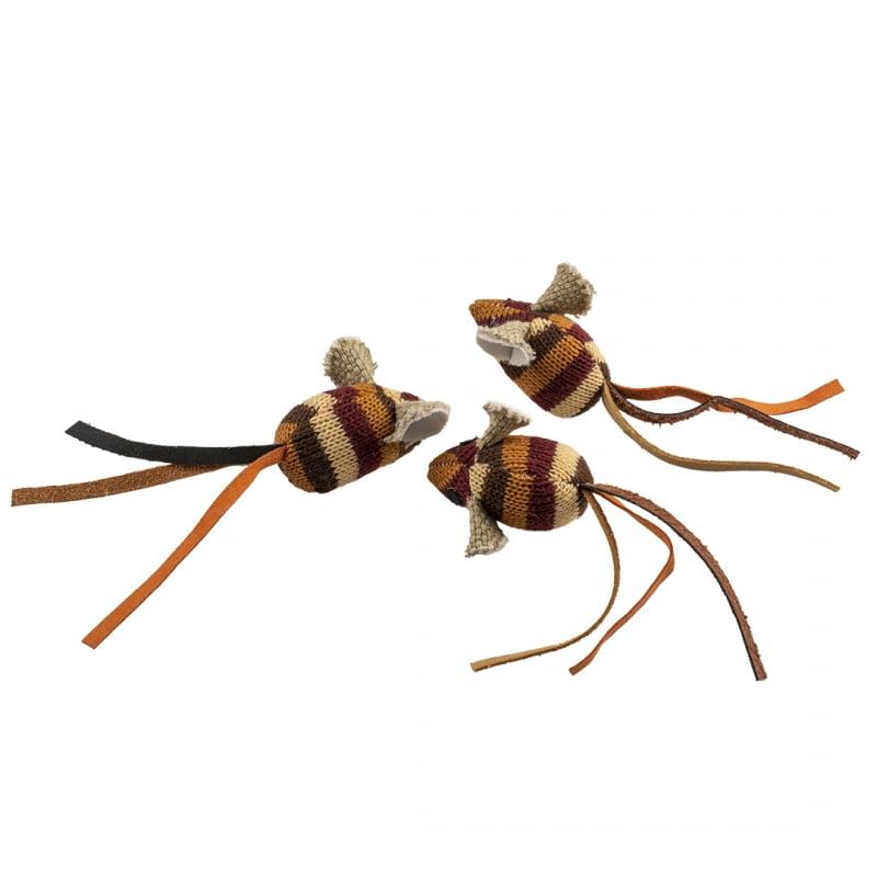 Duvo Kat Knitted Muizen 13,5×4,5×2,5cm -Bruin-