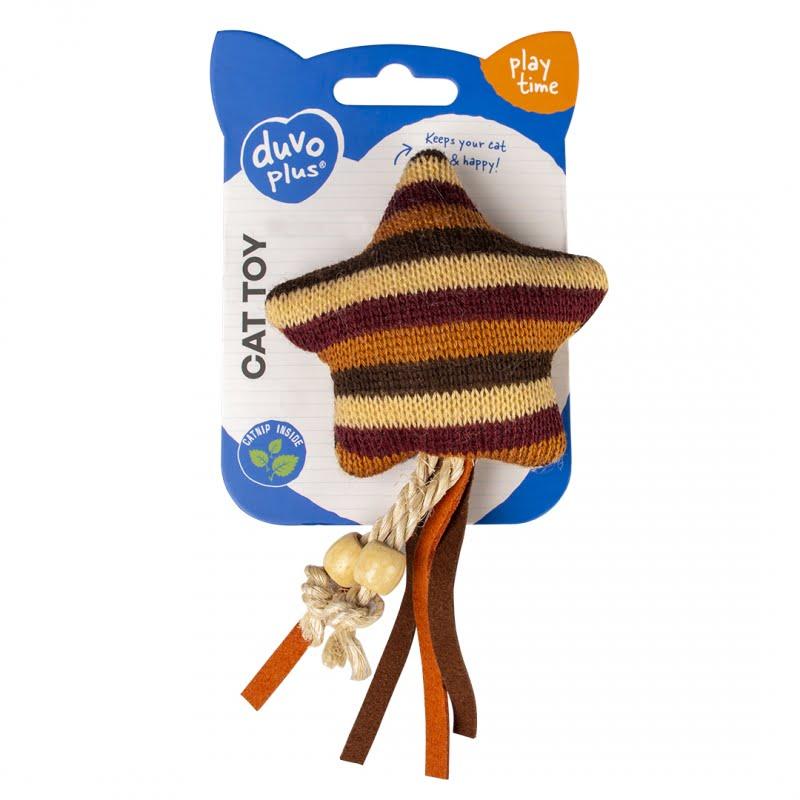 Duvo Kat Knitted Ster 15x8x3,5cm -Bruin-