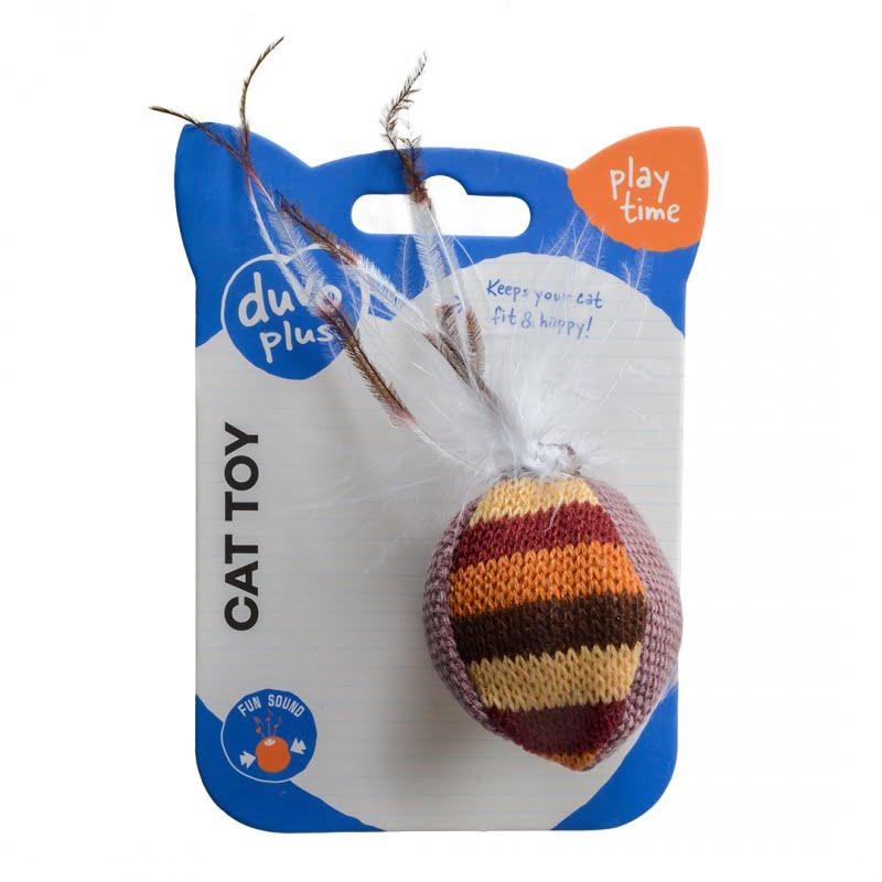 Duvo Kat Knitted Bal met Veren 15x8x3,5cm -Bruin-