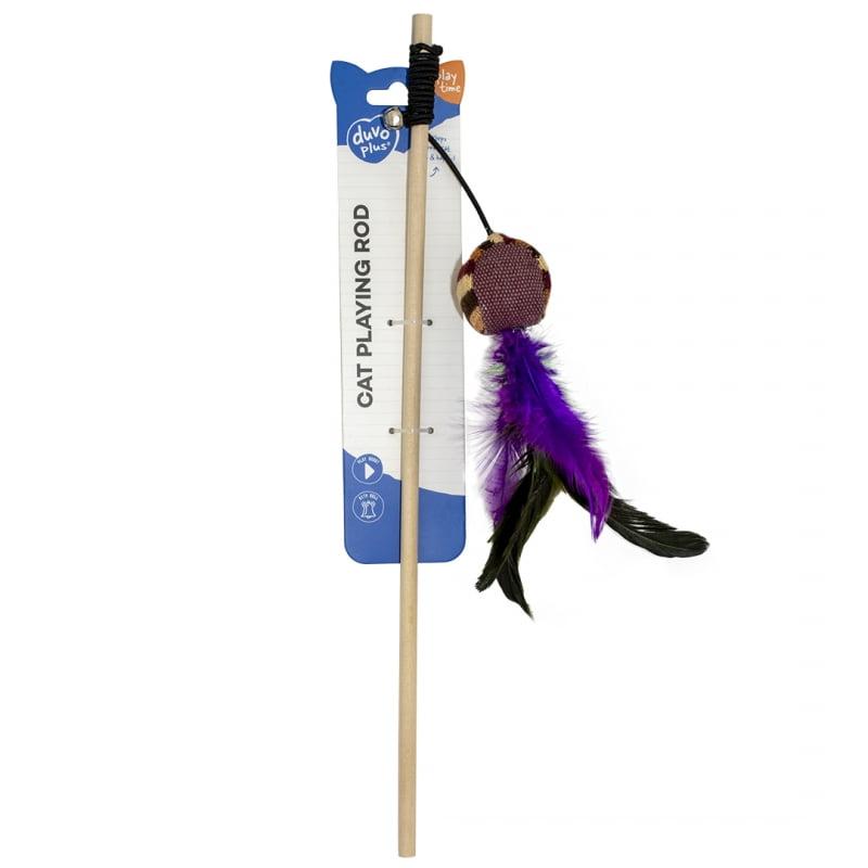Duvo Kat Speelhengel Knitted Bal Met Veren 20x4x3cm -Bruin-