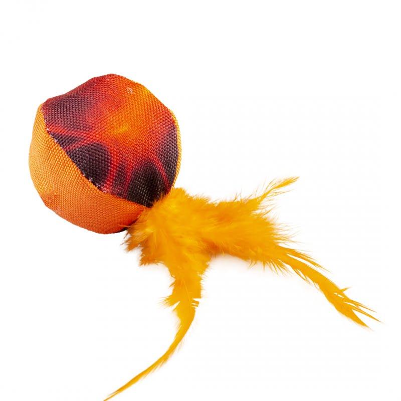 Duvo Kat Flash Bal Met Veren 12x4x4cm -Oranje-
