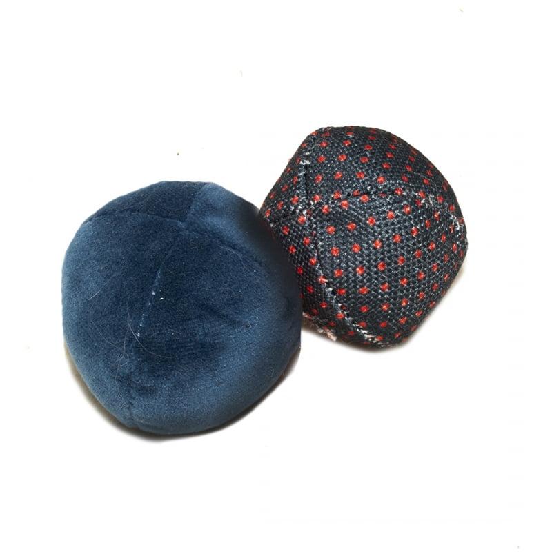 Duvo Kat Retro Blauwe Ballen Uni & Stippen 2pc 6x6x6cm
