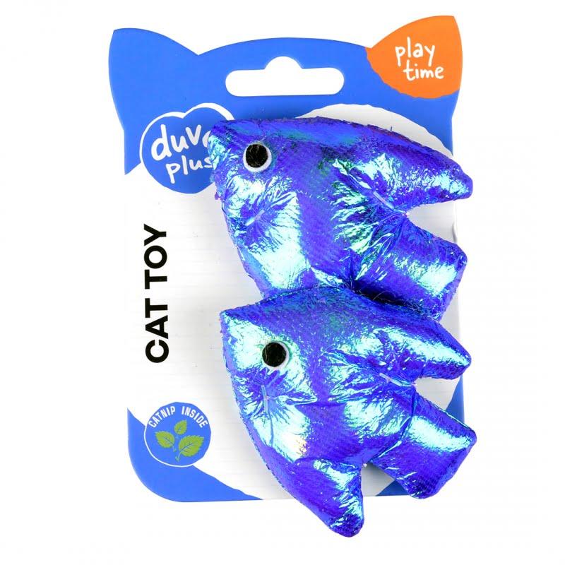 Duvo Kat Blinky Vissen 2pc 5,5x8x2,5cm -Blauw-