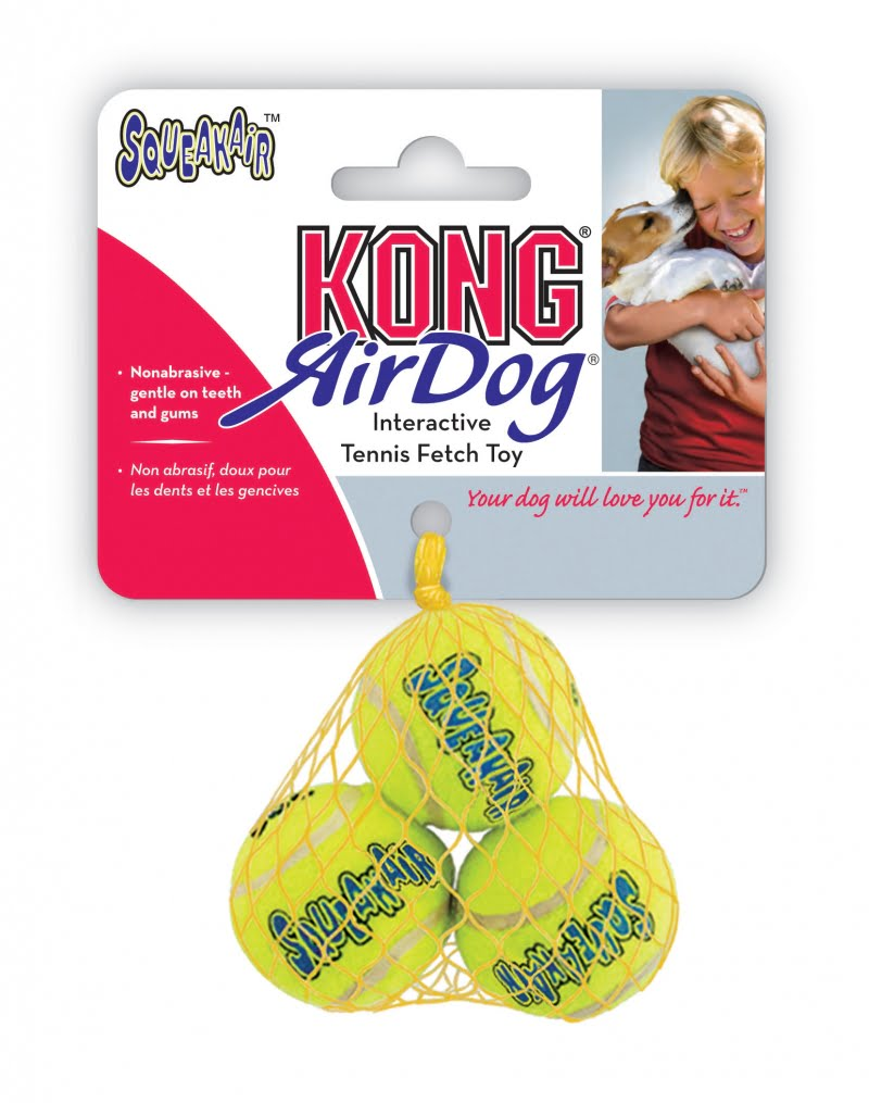 Kong Air squeaker ball 3 geel Small 5 cm