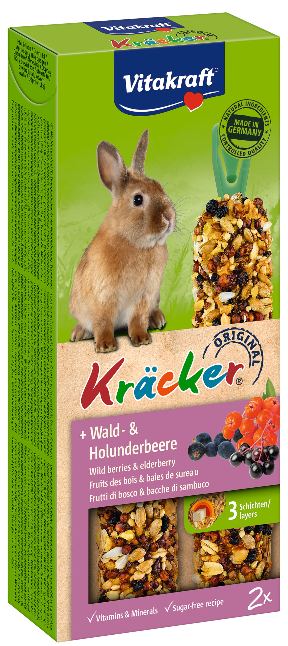 Vita Dwergkonijnkracker Bosbes/Vlierbes 2in1