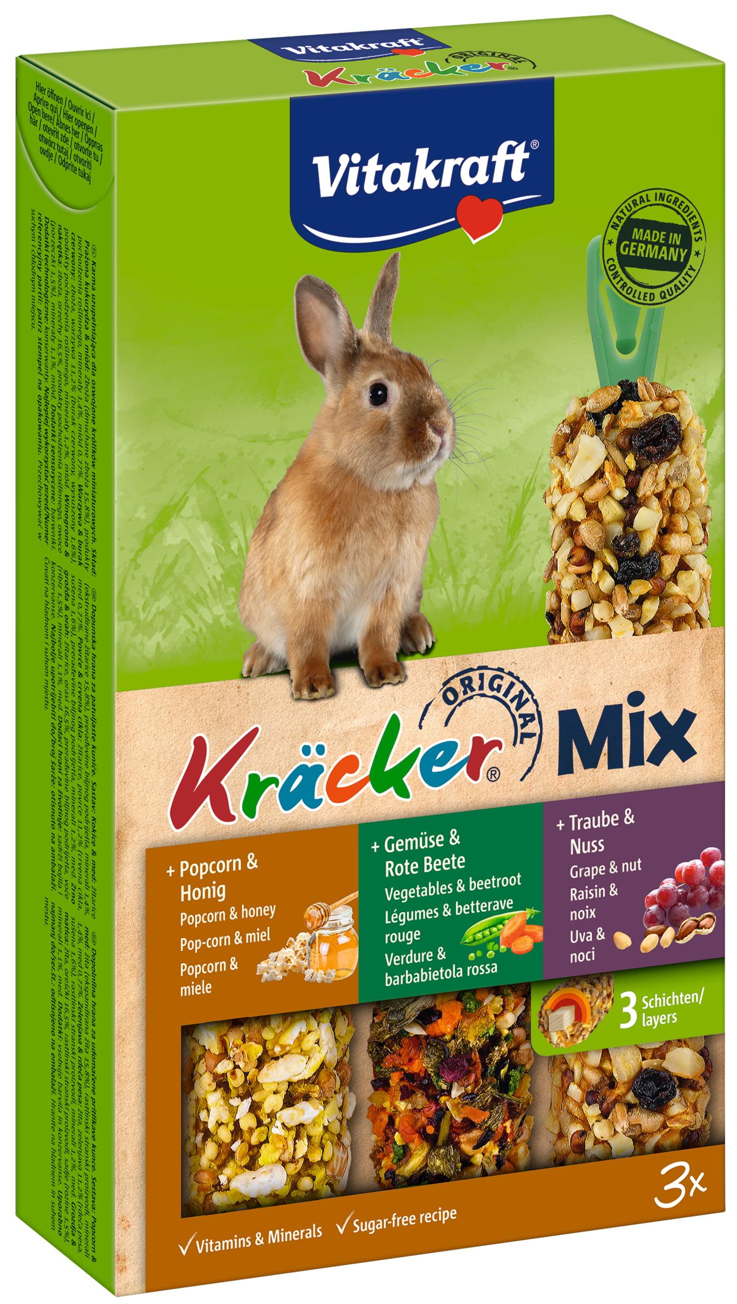 Vita Dwergkonijnkracker Trio Mix Druif/Groente/Popcorn