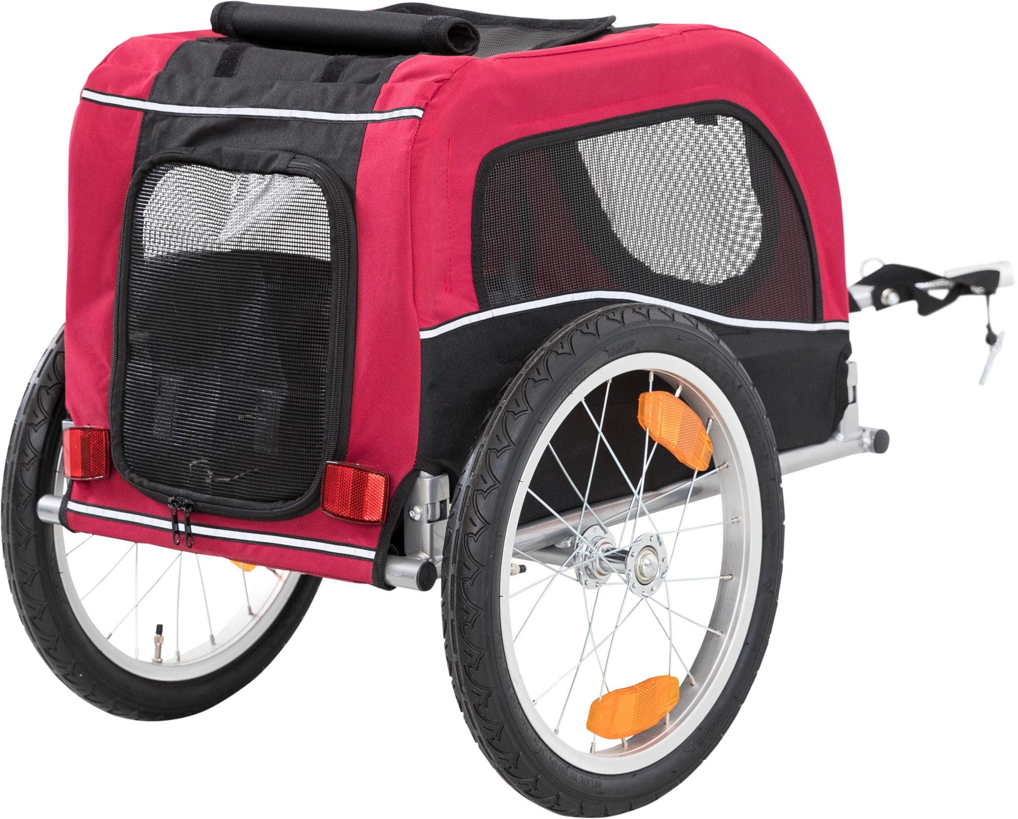 Hondenfietskar trixie -S- 53x60x60/117cm Zwart/Rood