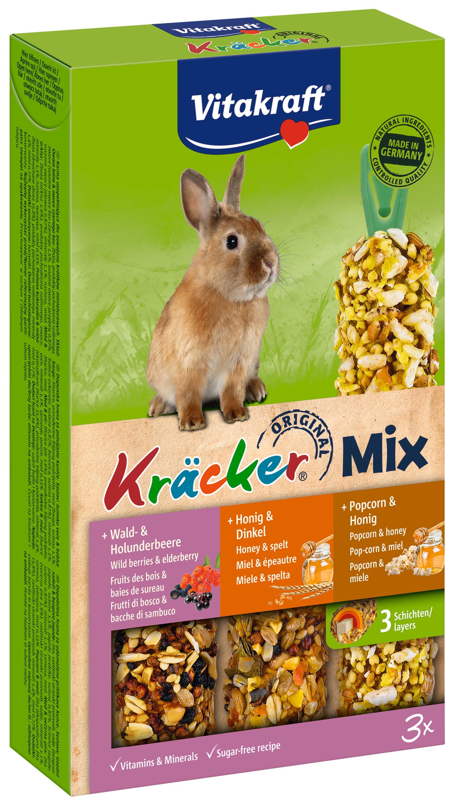 Vita Dwergkonijnkracker Trio Mix Honing/Popcorn/Bosbes