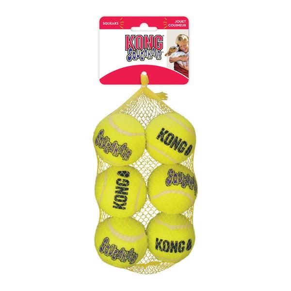 Kong Air squeaker ball 6 stuks Geel Medium 6 cm